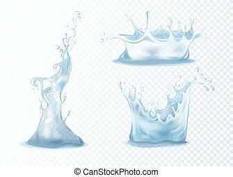 realistisch, water, gespetter, 3
