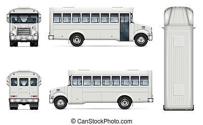 realistisch, weißes, vektor, mock-up, bus