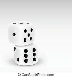 realistisch, witte , taste, twee, dobbelsteen