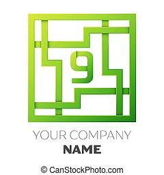 9, labyrinth, zahl. Arbeitsblatt, -, zahl, form, zahlen, lernen, 9 ...