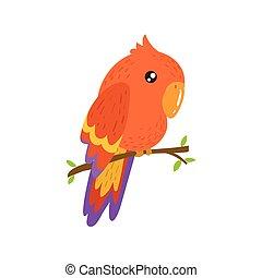 realistisk, barnslig, ara, röd, illustration