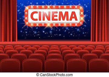 realistisk, bio, sal, inre, med, röd, seats., retro designa, bio, underteckna, med, få syn på lätt, frame., film premiär, affisch, design., vektor, illustration.