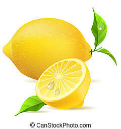 realistisk, bladen, citron, halvt