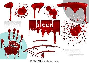 realistisk, blod, stänk, kollektion, det stänker