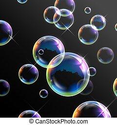realistisk, bubblar, transparent, tvål