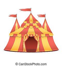 realistisk, cirkustent, vector., röda och gula, stripes., tecknad film, stor topp, cirkustent, illustration
