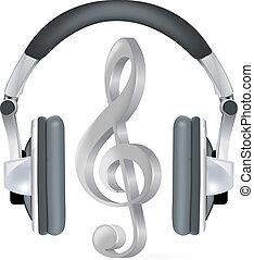 realistisk, hörlurar, med, musik anteckna