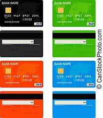 realistisk, kreditera, mall, vektor, kort, bank
