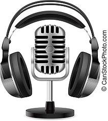 realistisk, mikrofon, hörlurar, retro