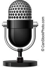 realistisk, mikrofon, retro
