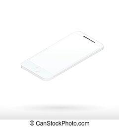 realistisk, mobil, avskärma, ringa, tom, vit, 3