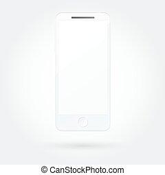 realistisk, mobil, avskärma, ringa, tom, vit