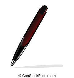 realistisk, penna, illustration, röd
