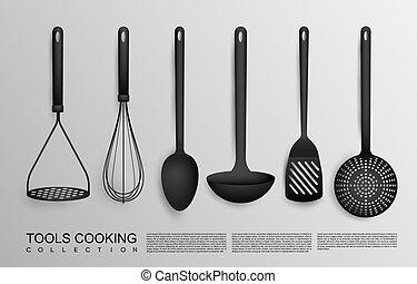 realistisk, svart, redskapen, kollektion, kök