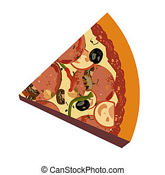 realistisk, vit fond, illustration, pizza
