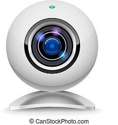 realistisk, webcam, vit