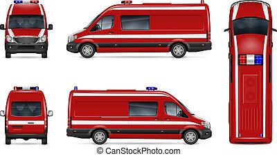 realistiske, ild, godsvognen, vektor, illustration
