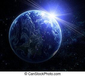 realistiske, jord planet, ind, arealet