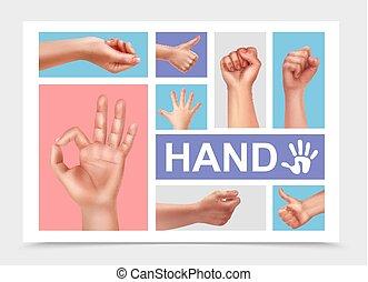 realistiske, kvindelig, samling, hænder