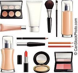 realistiske, makeup, sæt, kosmetikker