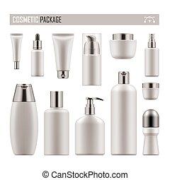 realistiske, produkt, kosmetik, pakke