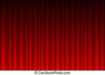 realistiske, rød gardin