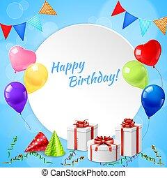 realistiske, ramme, fødselsdag, glade
