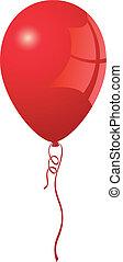 realistyczny, balloon, wektor, czerwony