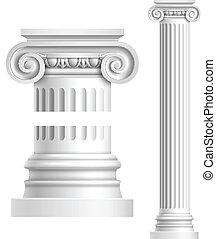 realistyczny, biały, starożytny, kolumna