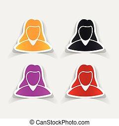 realistyczny, element:, kobieta, projektować