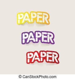 realistyczny, element:, papier, projektować