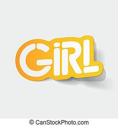 realistyczny, element:, projektować, dziewczyna