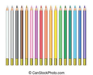 realistyczny, komplet, ołówki