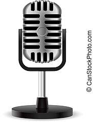 realistyczny, mikrofon, retro