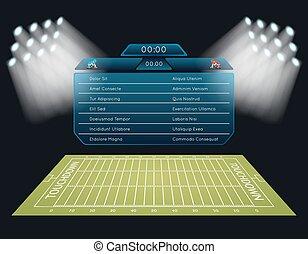 realistyczny, piłka nożna, scoreboard, pole, amerykanka, wektor