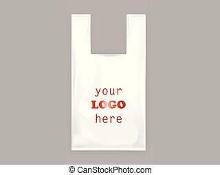 realistyczny, plastyczna torba, obsługuje, wektor, biały