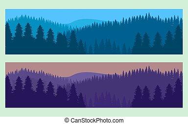 realistyczny, poziomy, krajobraz, las, drzewa