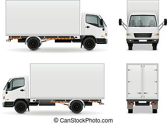 realistyczny, reklama, ciężarówka, mockup