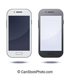 realistyczny, ruchomy, ekran, telefon, czarnoskóry, czysty