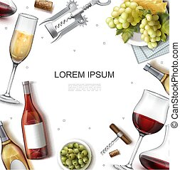 realistyczny, szablon, wino
