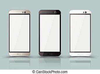 realistyczny, telefon, nowy, ruchomy