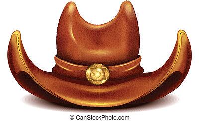 realistyczny, wektor, kapelusz, kowboj