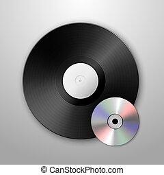 realistyczny, wektor, muzyka, gramofon, winyl, lp, rekord,...