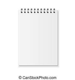 realistyczny, wektor, notatnik