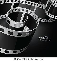 realistyczny, wektor, szpula, film