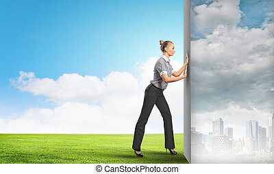 Reality change - Image of attractive business woman changing...
