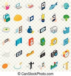 Reality icons set, isometric style