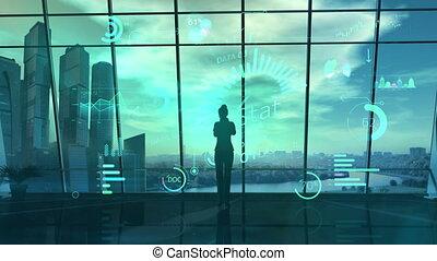 reality., virtuel, femme, analyse, données, bureau, business, utilisation