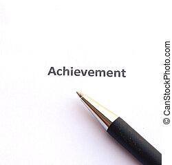realização, com, caneta