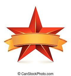 realização, vetorial, estrela, com, amarela, ribbon., vermelho, sinal, lugar, para, text., dourado, decoração, símbolo., 3d, brilho, ícone, isolado, branco, experiência.